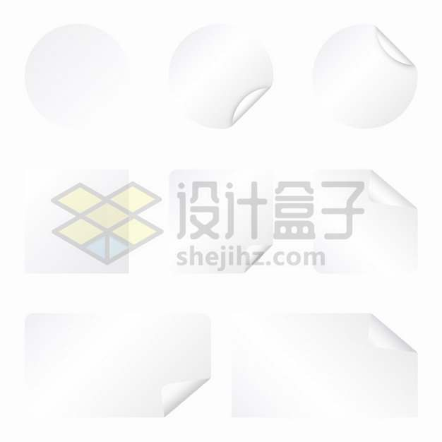 8款圆形方形翘边白色贴纸png图片素材