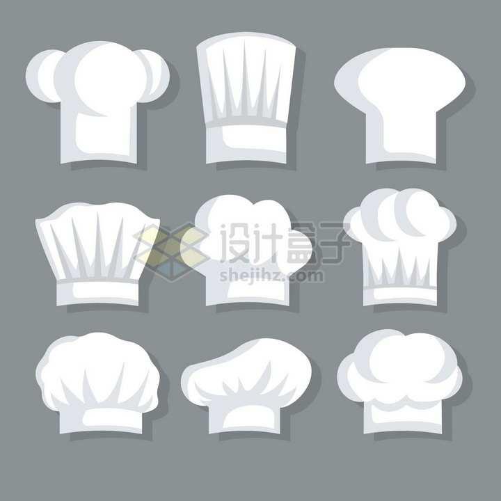 9款卡通白色厨师帽扁平插画png图片素材