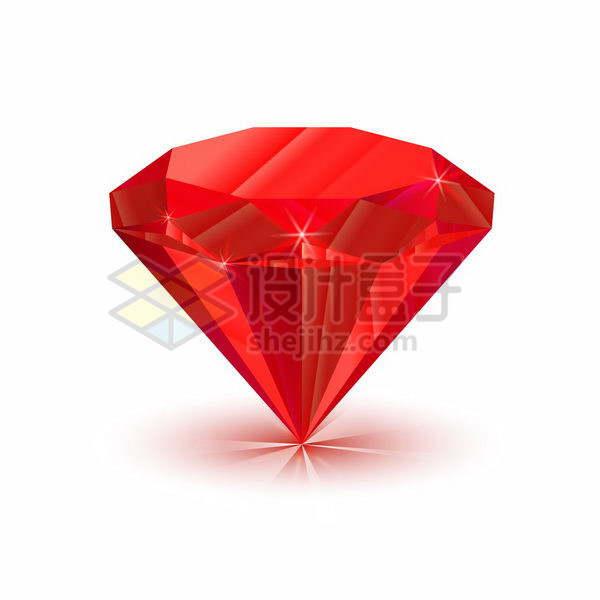 自带光泽的红色切割钻石宝石png图片免抠矢量素材