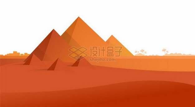 红色的沙漠和埃及金字塔风景png图片免抠矢量素材