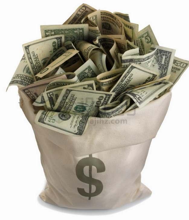 钱袋子里装满了美元钞票png图片素材