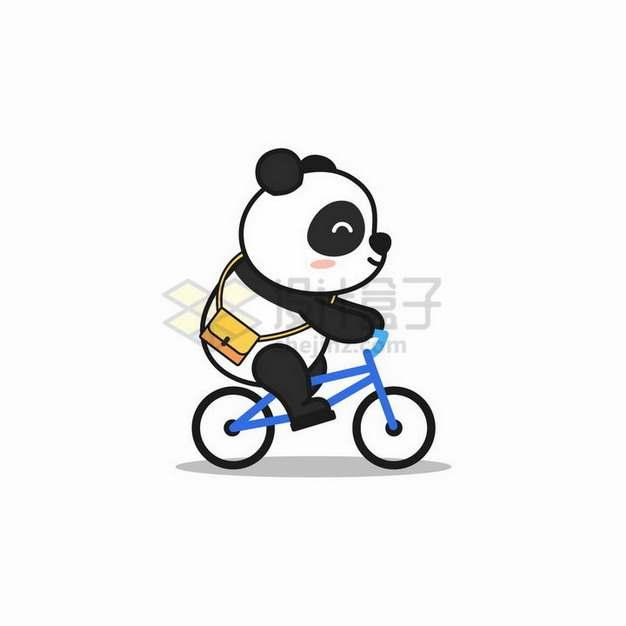 正在骑自行车的卡通熊猫png图片免抠矢量素材