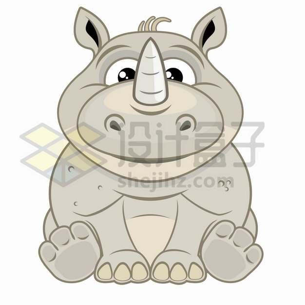 坐在地上的卡通犀牛儿童插画png图片素材