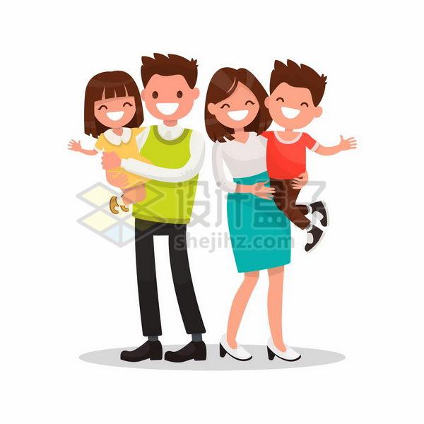 抱着儿子和女儿的扁平化卡通爸爸妈妈一家四口png图片免抠矢量素材 人物素材-第1张
