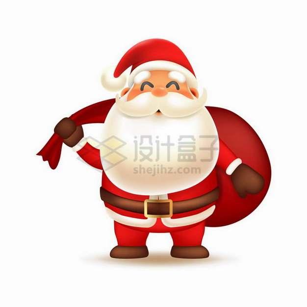 超可爱卡通圣诞老人背着红色礼物袋png图片素材