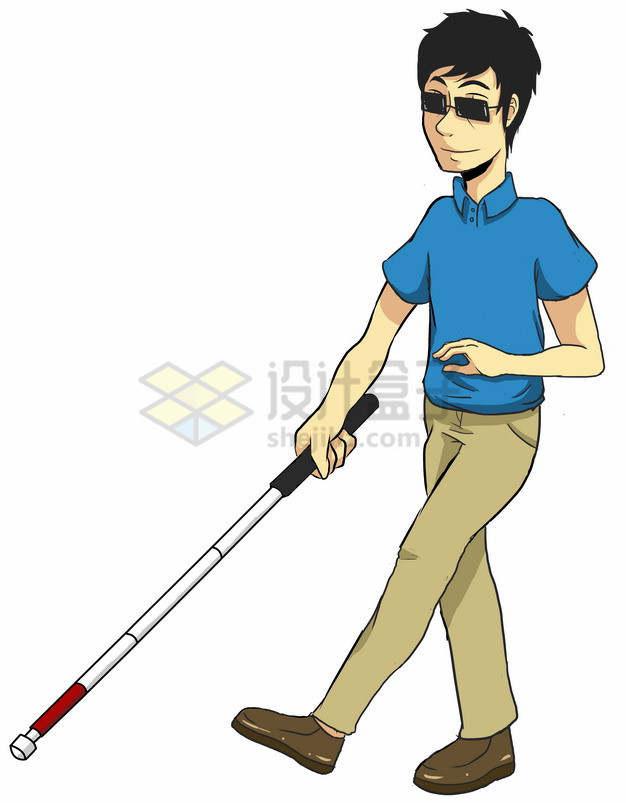 卡通盲人男孩拿着盲丈导盲棍png图片素材