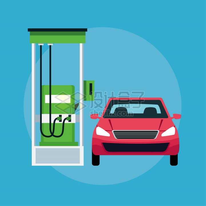 加油站加油的汽车扁平插画png图片素材