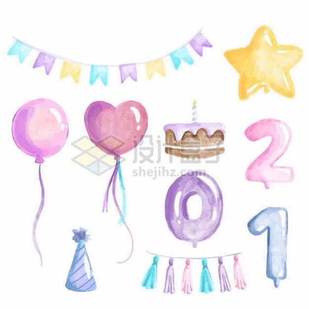 水彩画风格儿童生日宴会上的彩旗星星气球装饰png图片免抠矢量素材