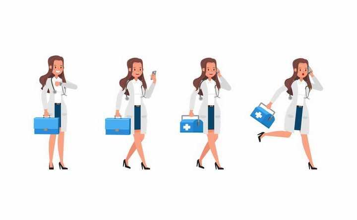 4款正在看手表打电话拎着药箱走路的卡通女医生png图片免抠矢量素材