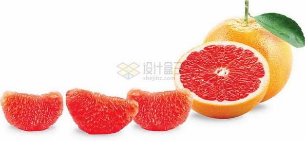 切开的红心柚子沙田柚剥出果肉png图片素材