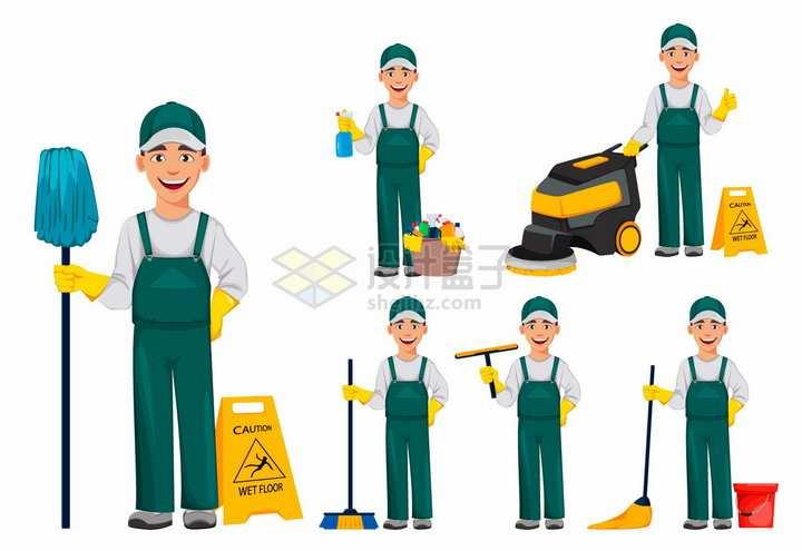 卡通环卫工人清洁员五一劳动节劳动人民png图片素材