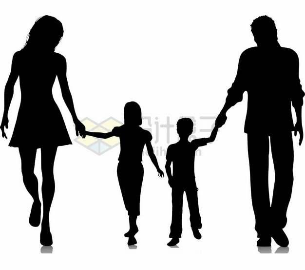 爸爸妈妈牵着儿子女儿的手人物剪影国际家庭日png图片素材