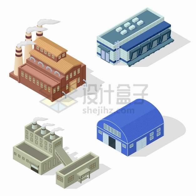 4款2.5D风格烟囱冒烟的工厂厂房和仓库生产车间png图片素材