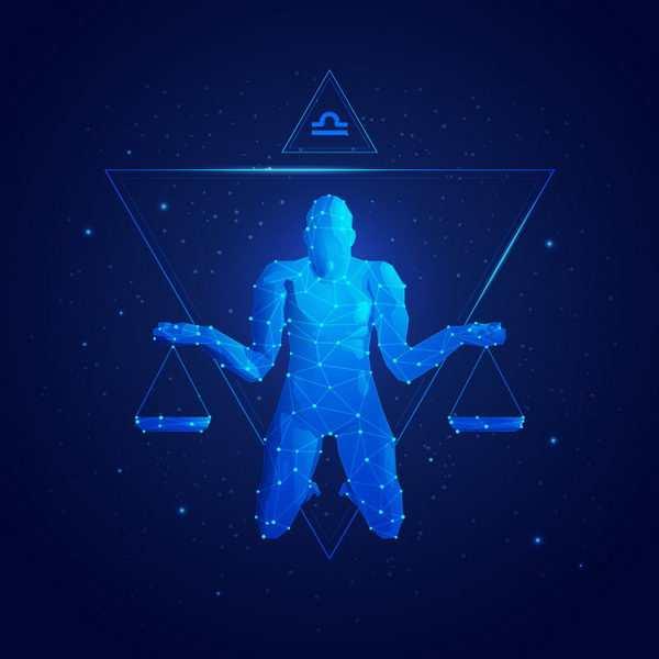蓝色发光点线组成十二星座之天秤座png图片免抠矢量素材
