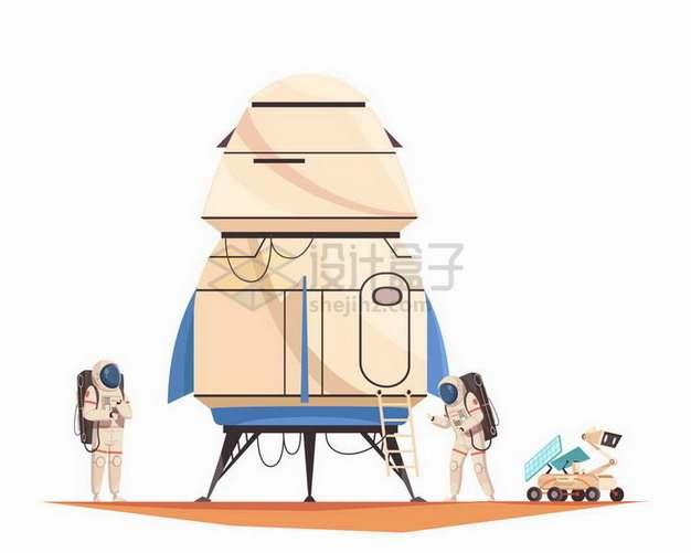 卡通火星探测飞船和两名宇航员一辆火星探测车png图片素材