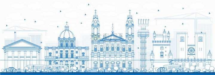 葡萄牙里斯本蓝色线条城市天际线png图片素材