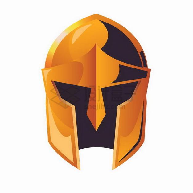 橙色的古罗马战士的头盔png图片免抠矢量素材 军事科幻-第1张