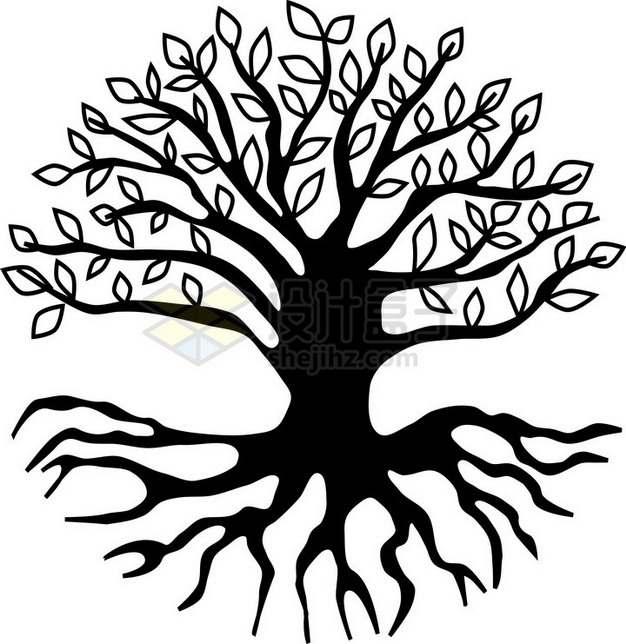 黑色大树带树根插画png免抠图片素材