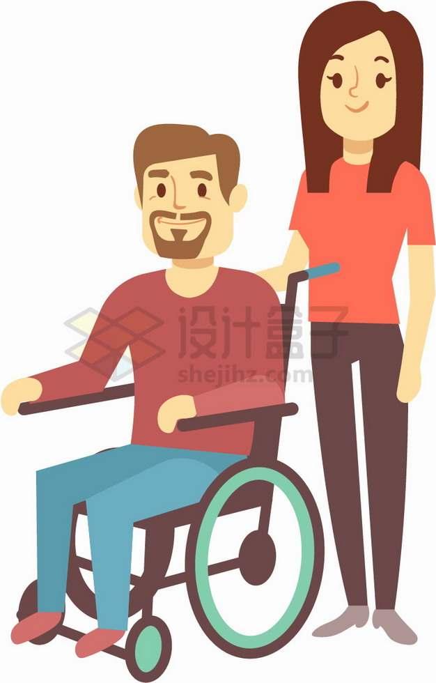 女孩帮助坐轮椅的残疾人全国助残日关爱残疾人png图片素材43657687
