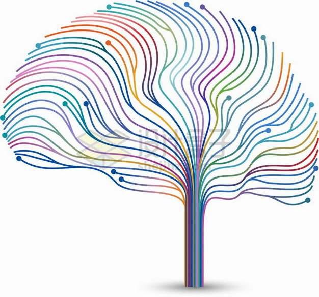 抽象彩色线条组成的人体大脑图案png图片素材