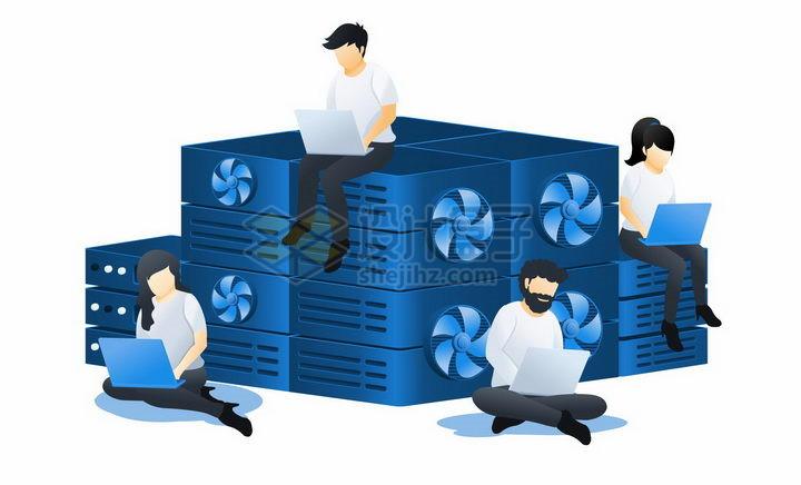 蓝色扁平插画风格在云服务器计算中心查看电脑png图片免抠矢量素材 IT科技-第1张