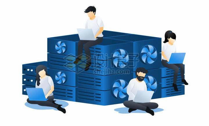 蓝色扁平插画风格在云服务器计算中心查看电脑png图片免抠矢量素材