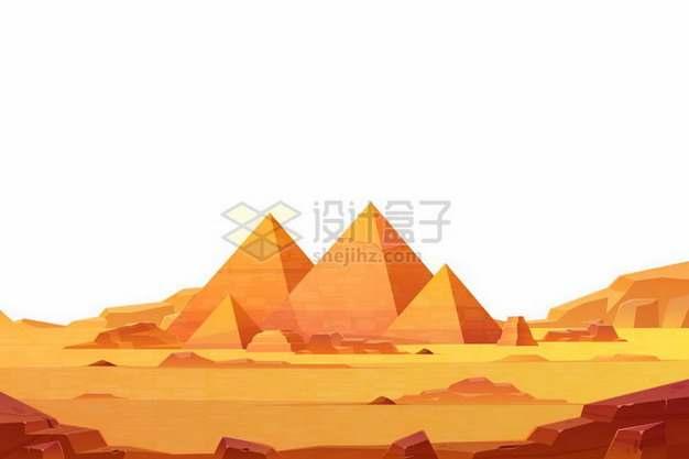 黄色的沙漠中的埃及金字塔风景png图片免抠矢量素材