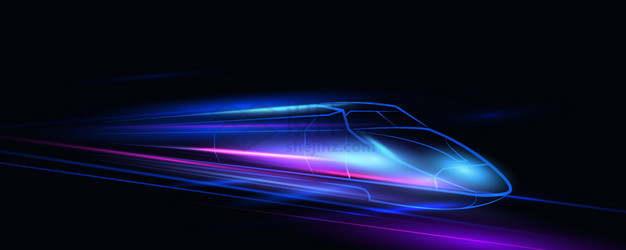 蓝色紫色光线组成的高铁列车背景png图片素材