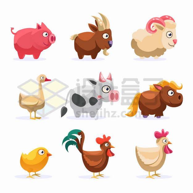 小猪山羊绵羊小鸭子奶牛小马小鸡公鸡母鸡等卡通动物png图片素材