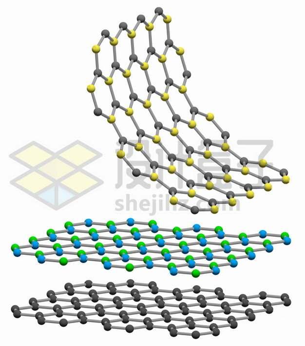 3种颜色的单层石墨烯薄膜png图片素材