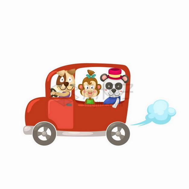 坐在小汽车里的卡通小狗猴子熊猫png图片免抠矢量素材 交通运输-第1张