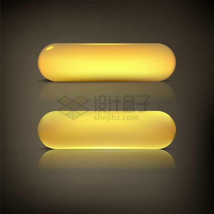 2款发光金色圆角3D立体按钮png图片素材