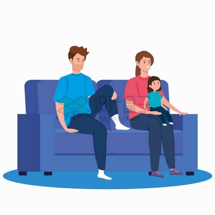 一家三口坐在沙发上扁平插画png图片素材