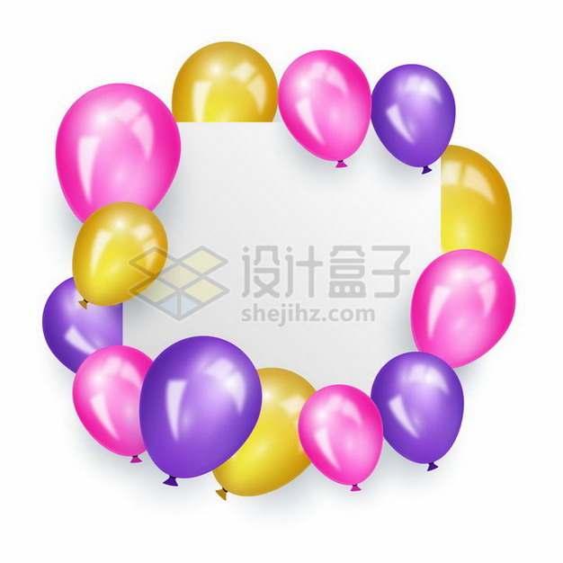 红色紫色金色气球包围着的方形文本框标题框png图片免抠矢量素材