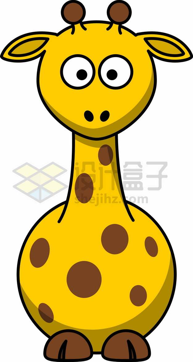 长颈鹿简笔画儿童插画png图片素材