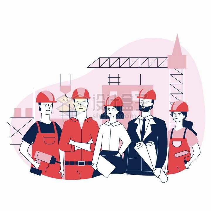 站一起的建筑工人五一劳动节手绘插画png图片素材