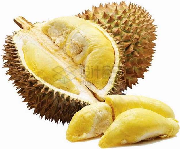 剥开的水果之王猫山王榴莲和果肉png图片素材