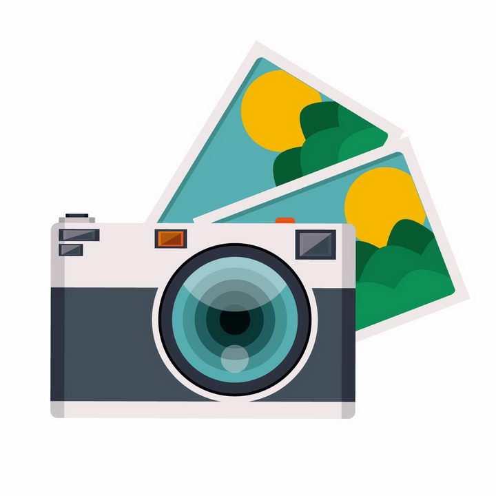 扁平化风格数码单反照相机和拍摄的照片png图片免抠矢量素材