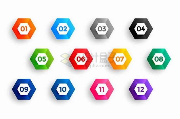 六边形彩色边框数字序号PPT信息图表png图片素材