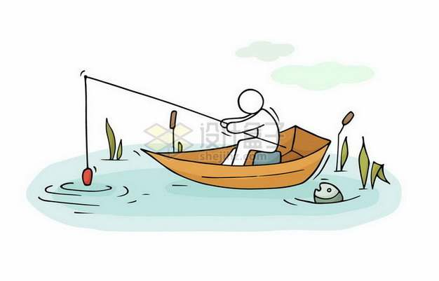 卡通小白人坐在船上钓鱼png图片免抠矢量素材