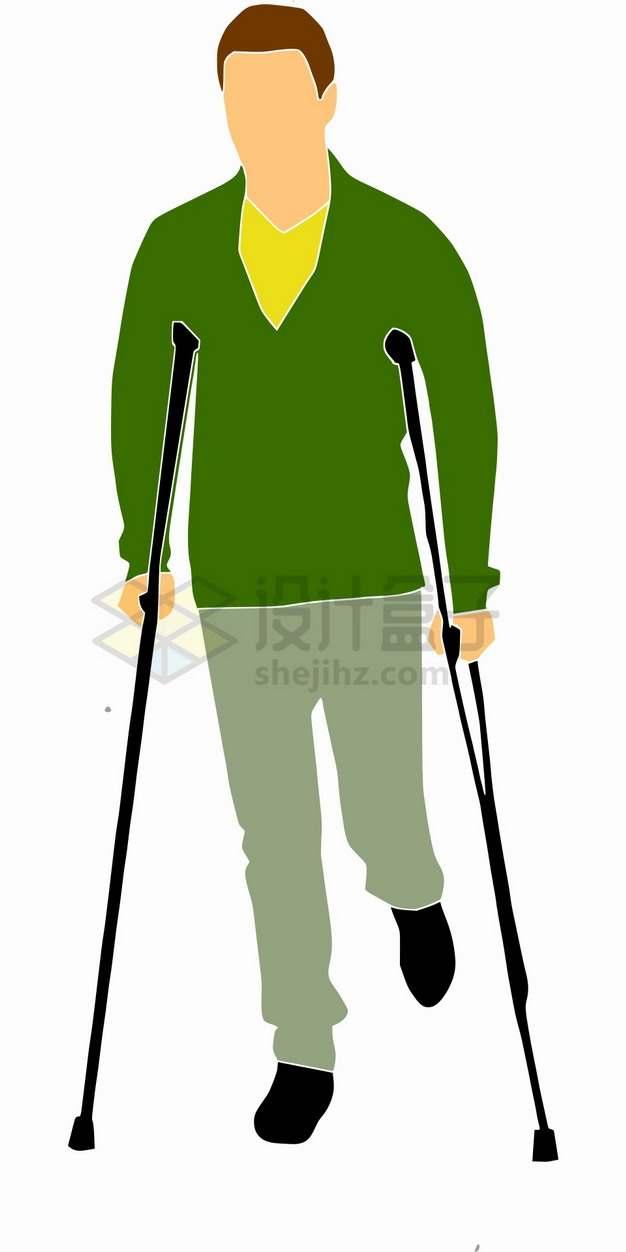 拄着拐杖的残疾人扁平插画png图片素材3245235