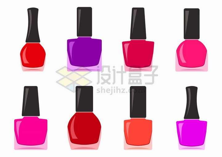 8款粉色系的香水瓶子扁平化风格png图片免抠矢量素材