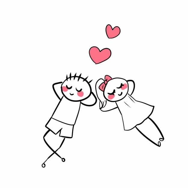 卡通线条情侣躺在地上发出红心png图片素材