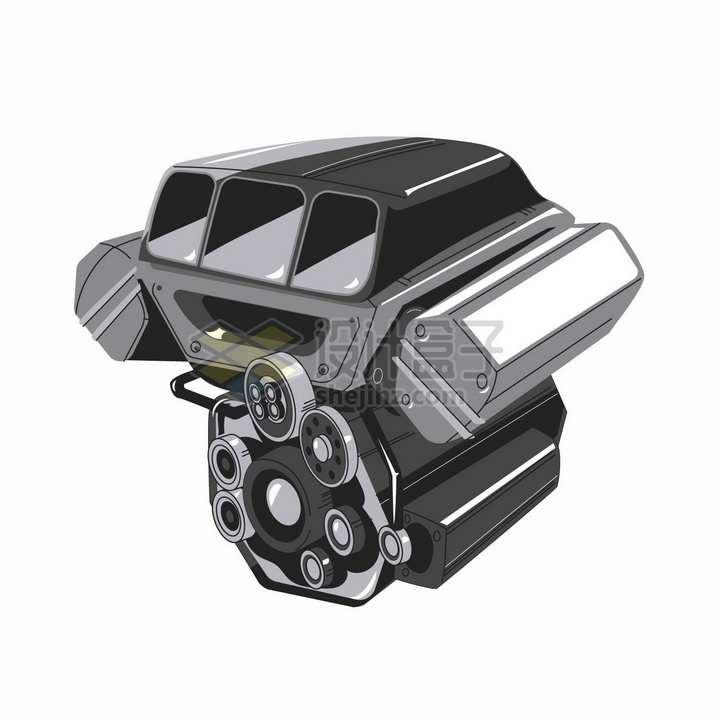 大功率汽车发动机引擎插画png图片素材