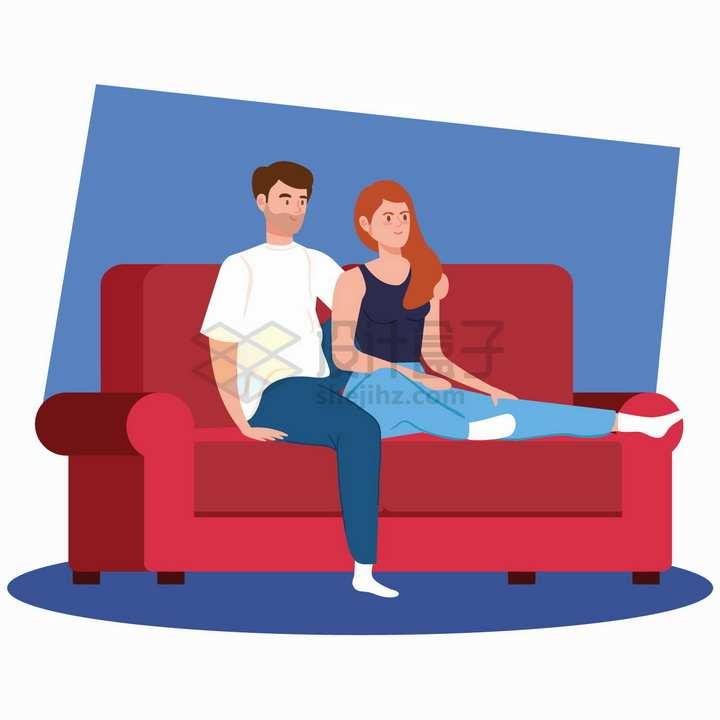 搂在一起坐在沙发的情侣扁平插画png图片素材