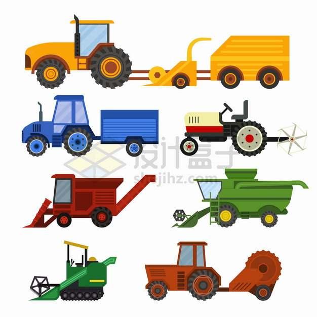 各种拖拉机收割机等农场机械扁平插画png图片素材