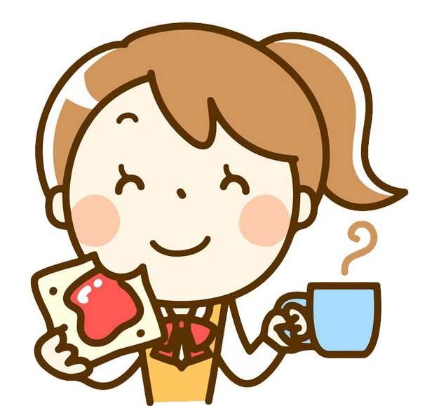 一边喝水一边吃饭的卡通女孩png图片素材