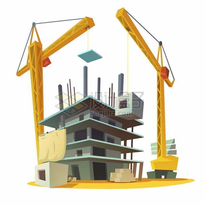 建筑工地上的塔吊建房子卡通插画png图片素材