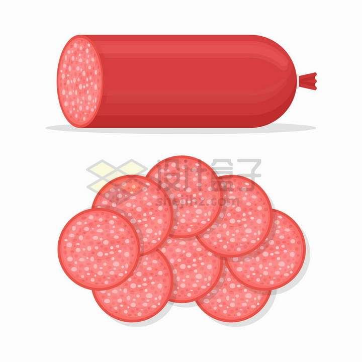 完整和切片的红肠香肠美味美食png图片免抠矢量素材