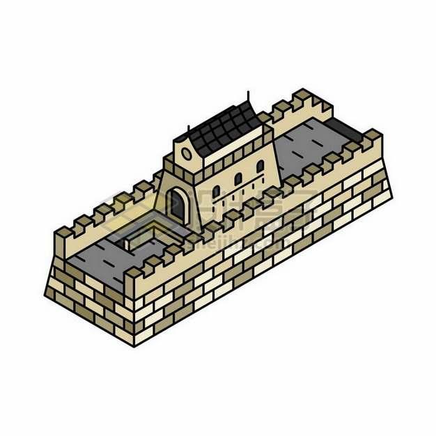 2.5D风格长城城墙png图片免抠矢量素材